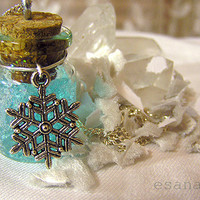 Winter Wonderland  Snow Globe Vial Necklace  Silver Ice by esanany