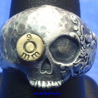 Until Death, Inc. Hammered Fiji Skull Ring With Bullet in Eye. Stamped Sterling 925 Silver. All Men's US Sizes.
