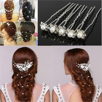 20pcs Pearl Hairpins Flower Crystal Rhinestone Hair Pins Clips Jewelry