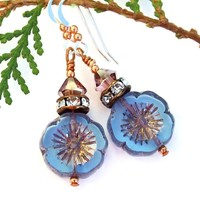 Blue Purple Pansy Flower Earrings, Swarovski Crystals, Handmade Summer Artisan Dangle Jewelry