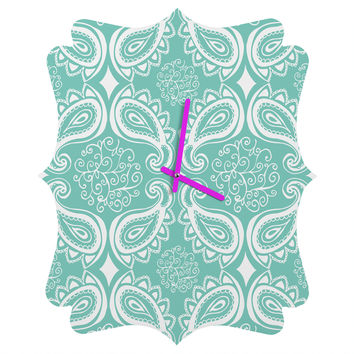 Heather Dutton Plush Paisley SeaSpray Quatrefoil Clock