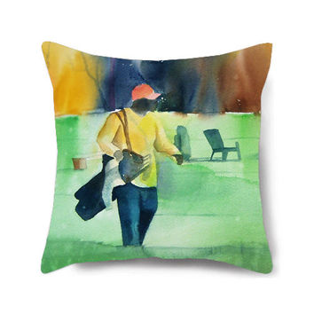 Decorative pillow cover, golf art, accent pillow, green pillow, gift for him, throw pillow, decorative pillow for couch, On the Green