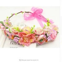 Flower summer elastic hairband floral headbands for women peach color festival crown flower headband floral hair wreath crown