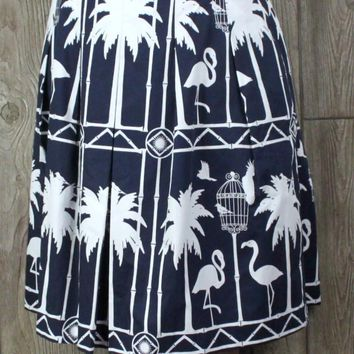 Cute New Talbots Skirt Blue White Flamingos 16 petite size Cotton and Lined