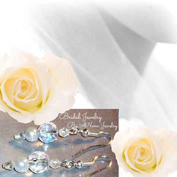 "Wedding Earrings Genuine Pearl And Swarovski Crystals "" The Most Opulent Bride"""