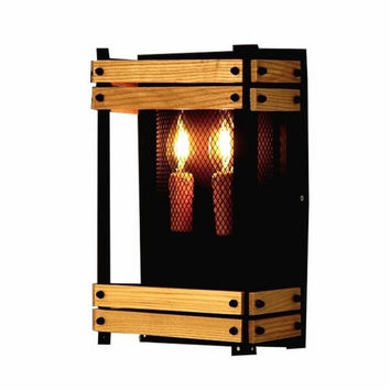 Countryside iron and wood creative art vintage industrial wall lamp light wall sconce