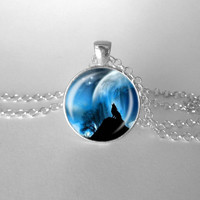 Wolf and Moon, Wolf Howl, Halloween, Everyday, Blue Black, Full Moon, Gunmetal Black, Shiny SIlver Necklace