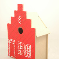 Bird house cross stitch kit. Amsterdam canalhouse embroidery kit. Includes wooden bird house, embroidery fabric, threat, needle and design