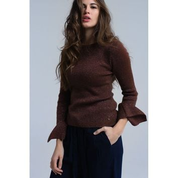 Brown shiny sweater