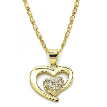 Gold Layered 04.166.0013.20 Fancy Necklace, Heart Design, with White Micro Pave, Polished Finish, Golden Tone