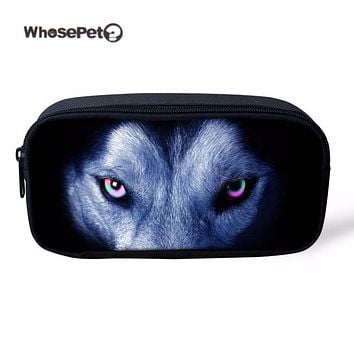 WHOSEPET Wolf Pencil Case For Boys School Pen Box Storage Pouch Women's Travel Make Up Bag Cool Animal Printing Storage Mini Bag