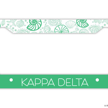 KD Kappa Delta Chevron Shell Sorority License Plate Frame