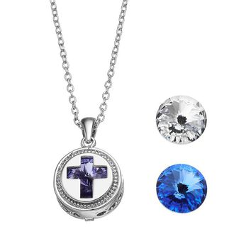 Charming Inspirations Interchangeable Crystal Cross Pendant Necklace Set - Made with Swarovski Elements (White)