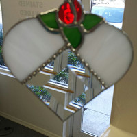 Sweet Rose Bud Heart Shaped Suncatcher, Stained Glass, Wedding, Anniversary Gift, Bridal Shower