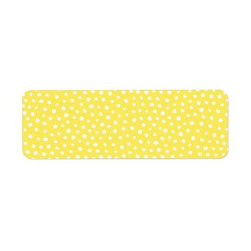Whimsical yellow and white polka dot dots pattern label