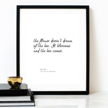 'The Flower Doesn't Dream' Typographic Print, MARK NEPO Poem