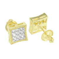 2 Tone Mens Earrings White Yellow Gold Finish Screw On