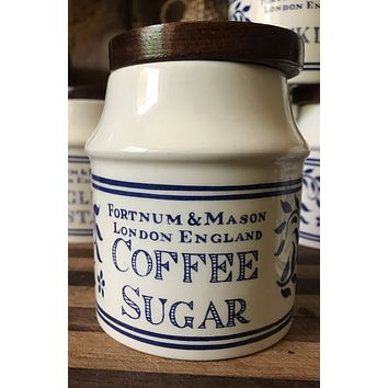 Blue & White COFFEE SUGAR Spice Jar Fortnum & Mason English Ironstone Advertising Canister