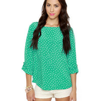 Adorable Mint Green Top - Print Top - Polka Dot Top - Long Sleeve Top - $36.00