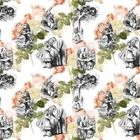 Alice in Wonderland Pink Roses - 13moons_design - Spoonflower