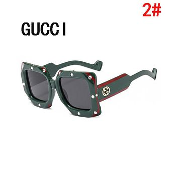 GUCCI Summer Newest Popular Women Men Casual GG Diamond Shades Eyeglasses Glasses Sunglasses 2#