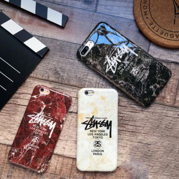 stussy Marble pattern Creative iPhone 6s phone case iPhone7 Plus Frosted soft protective cover