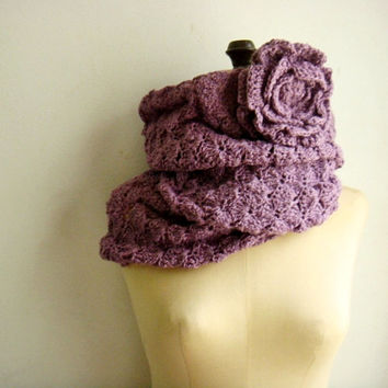 Easy PDF PATTERN Crochet Cowl Infinity Circle Scarf with Flower 240