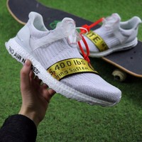 ONETOW OFF WHITE x Adidas Custom Ultra Boost 2.0 OW Sport Running Shoes White Yellow BA8841