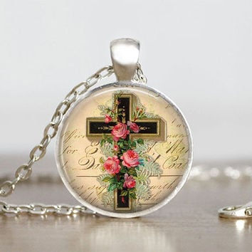 Cross Pendant Glass Tile Pendant Cross Necklace Cross Jewelry Spiritual Jewelry Cross Pendant Silver 1 Inch Round Cross Gift Necklace