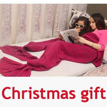Children and Adults Warm Knitted Sofa Bedding Mermaid Tail Blanket Home Christmas Gift