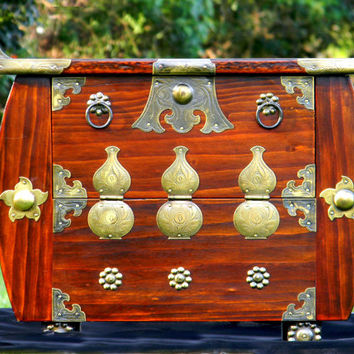 Chinese Apothecary Wooden Box, Small Wood and Brass Front Opening Cabinet 11855