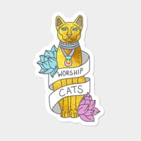 Cats Egypt Pyramid Gold Kitten Pets Tabby Tumblr Gold Typography Sticker By BigKidult Design By Humans