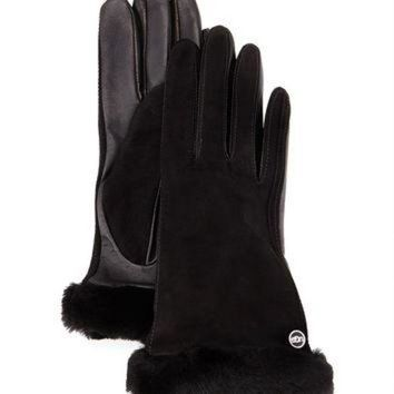 DCCK8X2 Classic Fur-Trim Suede Smart Gloves, Size: