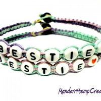 Bestie Friendship Bracelet Set, Pastel Multicolor Hemp Jewelry, Best Friends, Made to Order