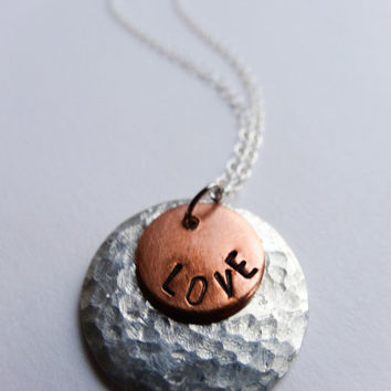 Love charm necklace, hammered Sterling silver, polished copper, stamped necklace, gift for her, birthday, Valentine gift, wedding
