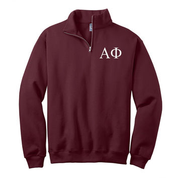 Alpha Phi Quarter Zip Pullover,  Alpha Phi cadet fleece pullover, Alpha Phi Sorority Letters sweatshirt, Greek Apparel, Sorority pullovers