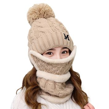 Hat Female Mask Scarf Warm Womens Beanie Winter Hat Scarf Masks Ear Set Slouchy Snow Knit Skull Cap Plus Velvet Collar Removable