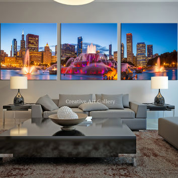 City Wall Art - Large Canvas Print - Chicago Wall Art Canvas Print - Chicago City Skyline Art Canvas Print -