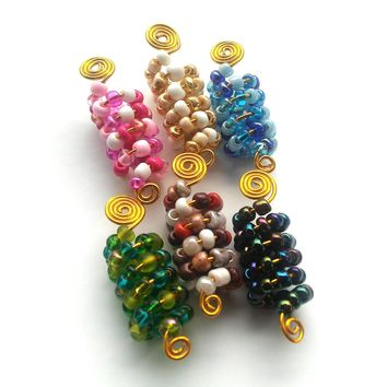 Wire wrapped, Beaded Dreadlock jewelry, hair accessories, ethnic jewelry......Choose a color