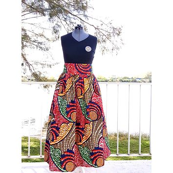 African Maxi Skirt - Blue Red Swirl Print