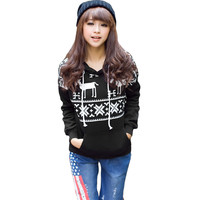 Black Deer Print Long Sleeve Fleece Pullover Hoodie Sweatshirt
