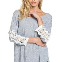 Casual Cute Ribbed Knit Tunic - Sky