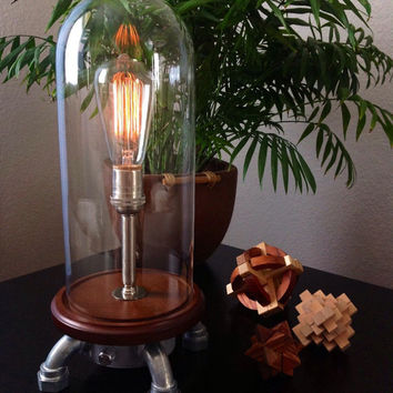 Tall Industrial Table Lamp with Rotary Dimmer Edison Lamp in a glass dome bell jar 120v-240v