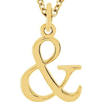 14K Gold Lowercase Letter Initial Necklace