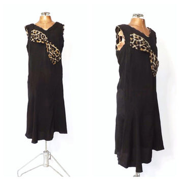 Vintage Authentic 1920s Dress Black Rayon 20's Art Deco Dress 20s Leopard print Flapper Gown Great Gatsby Dropwaist Bias Cut Dress Medium