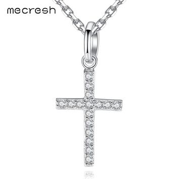 Mecresh 925 Sterling Silver Cross Pendant Necklace with Long Chain Cubic Zirconia Crucifix Jesus Neclace Fashion Jewelry MXL117
