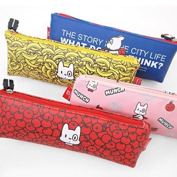 Munch triangle zipper pencil case