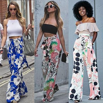 *Online Exclusive* High Waist wide leg printed palazzo pants