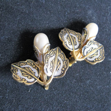 Vintage 60s Damascene Earrings 1960s Black White Enamel Faux Pearl Flower Gold Tone Clip Earrings