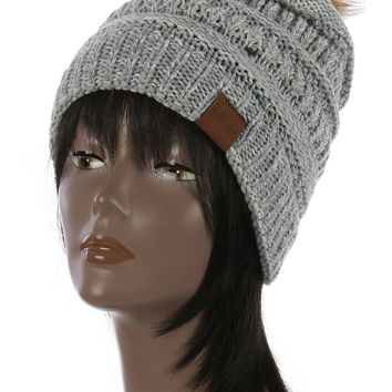 Faux Fur Pom Pom Knit Winter Beanie Hat And Cap 90